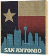 San Antonio City Skyline State Flag Of Texas Art Poster Series 022 Wood Print