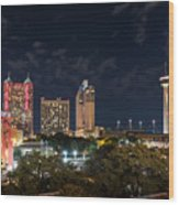 San Antonio Cityscape At Night Wood Print