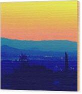San Bernardino California Sunset Silhouette Wood Print