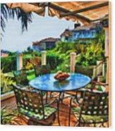 San Clemente Estate Patio 2 Wood Print by Kathy Tarochione