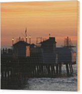 San Clemente Pier Sunset Wood Print by Brad Scott