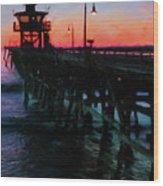 San Clemente Pier Sunset Wood Print