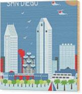 San Diego California Vertical Skyline Wood Print