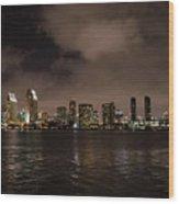 San Diego Evening Skyline Wood Print