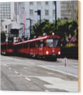 San Diego Red Trolley Wood Print
