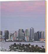 San Diego Skyline And Marina At Dusk Wood Print
