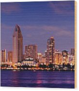 San Diego Skyline At Dusk Wood Print