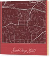 San Diego State Street Map - San Diego State University San Dieg Wood Print