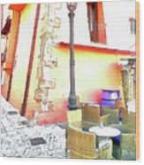 San Felice Circeo Chairs And Street Lamp Wood Print