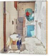 San Felice Circeo Man Puts On Clothes Wood Print