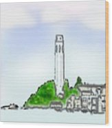 San Francisco 1986 Telegraph Hill The Museum Zazzle Gifts Watercolor 1 Jgibney 2010 Wood Print