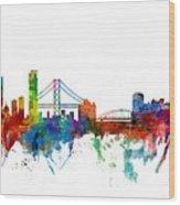 San Francisco And Pittsburgh Skylines Mashup Wood Print