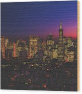 San Francisco At Sunset Wood Print