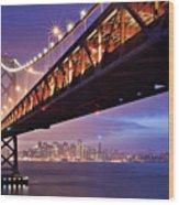 San Francisco Bay Bridge Wood Print by Photo by Mike Shaw