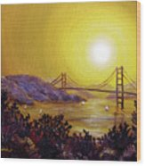 San Francisco Bay In Golden Glow Wood Print