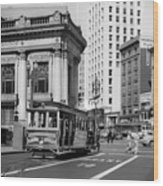 San Francisco Cable Car During Wwii Wood Print
