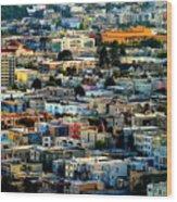San Francisco California Scenic  Rooftop Landscape Wood Print