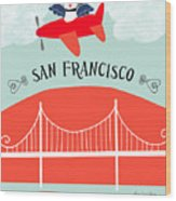 San Francisco California Vertical Scene - Bird In Plane Over San Francisco Wood Print