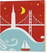 San Francisco California Vertical Scene - East Bay Bridge And Boat Wood Print