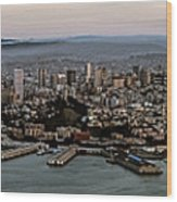 San Francisco City Skyline Panorama At Sunset Aerial Wood Print
