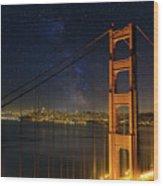 San Francisco City Skyline Through Golden Gate Bridge Wood Print