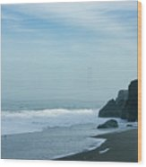 San Francisco Fog - Barely Discernible Golden Gate Bridge From China Beach Wood Print