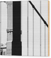 San Francisco Golden Gate Bridge . Black And White Photograph . 7d7954 Wood Print