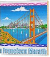 San Francisco Marathon Panorama Wood Print