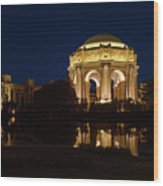 San Francisco Palace Of Fine Arts At Night Wood Print