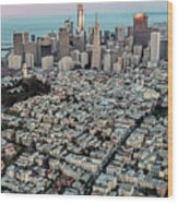 San Francisco Skyline And Coit Tower Wood Print
