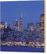 San Francisco Skyline At Dusk Wood Print