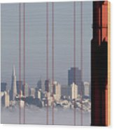 San Francisco Skyline From Golden Gate Bridge Wood Print by Mona T. Brooks