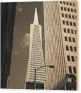 San Francisco - Transamerica Pyramid Sepia Wood Print