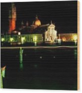 San Georgio Maggiore in Venice at Night Wood Print