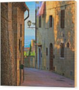 San Gimignano Alley Wood Print