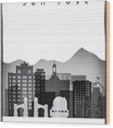 San Jose Graphic Skyline Wood Print