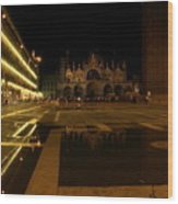 San Marco In Venice At Night Wood Print