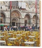 San Marco On A Rainy Day Wood Print
