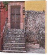 San Miguel Steps And Door Wood Print