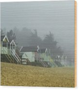 Sand And Huts And Fog Wood Print