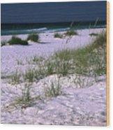 Sand Beach And Grass Wood Print