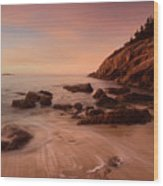 Sand Beach At Sunrise Wood Print