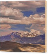 Sand Dunes - Mountains - Snow- Clouds And Shadows Wood Print