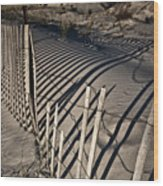 Sand Fence Wood Print by Joel P Black