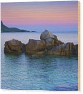 Sand Rocks In The Sea At Sunset Wood Print