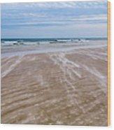 Sand Swirls On The Beach Wood Print