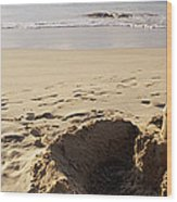 Sandcastle On The Beach, Hapuna Beach Wood Print