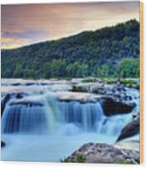 Sandstone Falls At Sunset In West Virginia   Hdr Wood Print