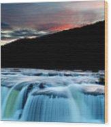 Sandstone Falls At Sunset In West Virginia Wood Print