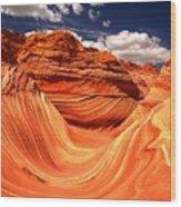 Sandstone Waves And Clouds Wood Print